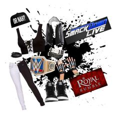 """""""Road to Rumble//Smackdown"""" by zombietomboy ❤ liked on Polyvore featuring Puma, WWE, Banned, Pieces, adidas Originals, smackdown, royalrumble and womanschamp"""