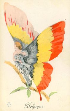 Postcard: Woman as Butterfly, Flag of Belgium Fantasy Art Nouveau, Antique Rare, Girl Artist, Postcard Art, World's Fair, Wwi, Historical Photos, My Drawings, Vintage Art