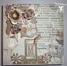 Caixa  decorada com papeis para scrapbook. R$ 58,00