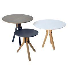 Juego de mesas redondas desarmables, se pueden intercambiar las patas