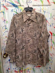 Vintage men's button down pimp polyester nylon disco shirt size Large Tan Turquoise Floral Motif 1970s by RagsAGoGo, $25.00