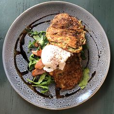 Zucchini & Haloumi Fritters at The Verandah Newcastle Cafe Zucchini Fritters, Newcastle, Lunch, Breakfast, Zucchini Tots, Morning Coffee, Eat Lunch, Morning Breakfast