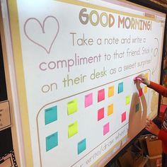 Classroom goals - Students were excited to find an interactive morning welcome 💞 After unpacking, they picked a name off the board, wrote them a kind note,… First Grade Classroom, Classroom Behavior, Future Classroom, School Classroom, Classroom Activities, Classroom Management, Classroom Decor, Classroom Whiteboard Organization, Classroom Meeting
