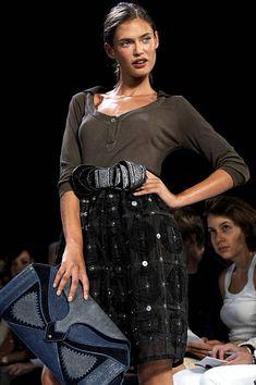 Bianca Balti wearing Zac Posen Spring 2006 during Olympus Fashion Week Spring 2006 Zac Posen Runway at Bryant Park in New York City New York United...