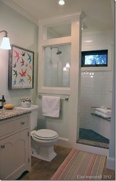 """Doorless shower setup- and I love the subway tile! And the glass """"window"""""""