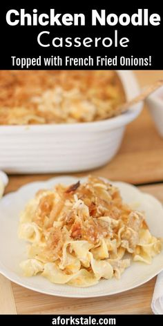 This Chicken Noodle Casserole recipe is a delicious Southern Food Classic. Topped with crispy french fried onions and loaded with cheese, it is a finger licking, go back for seconds food! #chickennoodlecasserole Easy Chicken Dinner Recipes, Best Dinner Recipes, Baked Chicken Recipes, Real Food Recipes, Vegetarian Recipes, French Onion Chicken, French Fried Onions, Casserole Dishes, Casserole Recipes