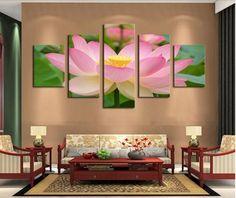 Pink Lotus Canvas Art 5 Piece
