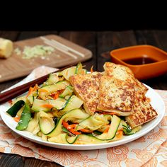 Sesame Miso Zucchini Noodles with Tofu have all the flavor without any of the bad stuff.