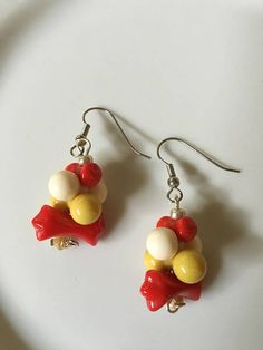 Red Yellow Dangle Earrings Repurposed Bead Earrings Beaded