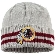 Men s Washington Redskins New Era Heathered Gray 2 Striped Cuffed Knit Hat ab0715f86a9