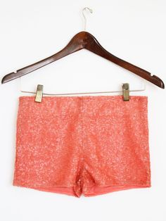 Coral Sequin Shorts!