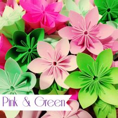 Green and Pink Theme  Colorful Origami Folding by PatchSupplyShop, $10.00