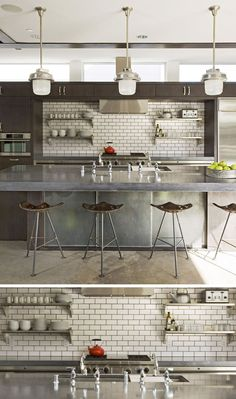 9 Inspirational Kitchens With Geometric Tiles // The dark grout used to fill the spaces between the white subway tiles match the other dark elements in the kitchen, like the cabinetry and bar stools.