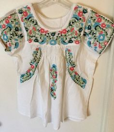 Anthropologie Mexican Embroidered Blouse Mexican Peasant Mexican Top   eBay