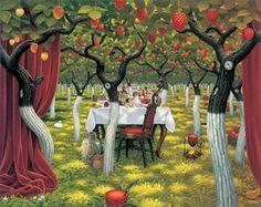 Strawberry garden - (Jacek Yerka) #art #oilpainting #surrealism #symbolism #garden #strawberry #interior