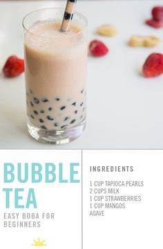 Bubble tea or Boba is ridiculously fun to eat and, lucky for me, very easy to make. Have fun putting the tapioca pearls in all sorts of smoothies and drinks once you see how simple it is! You will need an extra thick straw, so be prepared! Boba Smoothie, Boba Tea Recipe, Blackberry Smoothie, Boba Drink, Pearl Tea, Apple Smoothies, Homemade Smoothies, Bubble Milk Tea, Tapioca Pearls