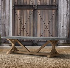 I want something like this, big and heavy and rectangular: Belgian Trestle Weathered Teak Rectangular Dining Table - Restoration Hardware