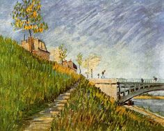 Vincent van Gogh. Banks of the Seine with Pont de Clichy