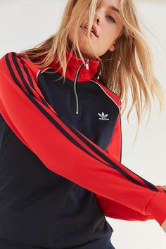 adidas Originals 3-Stripe Half Zip Navy And Red Track Jacket | Urban Outfitters | Women's | Jackets | Lightweight Jackets #uoeurope #urbanoutfitterseu