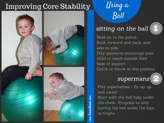Using a stability ball to improve a child's core strength Movement Activities, Sensory Activities, Therapy Activities, Kids Therapy, Stability Exercises, Core Stability, Core Exercises, Yoga For Kids, Exercise For Kids