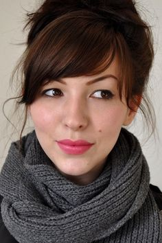 Lovely side swept fringe with a messy updo - complete with the scarf and pink lips, this would be a great look for a coffee date!