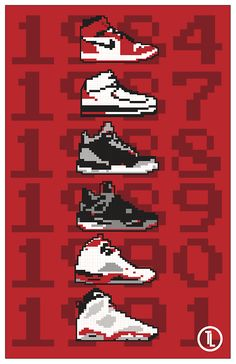 8-Bit Jordan 1-6 Digital poster I designed.