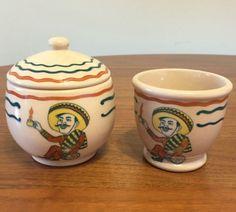 Mexican-Man-Wallace-China-Desert-Ware-Eatons-Rancho-Rare-Sugar-Bowl-Custard-Cup