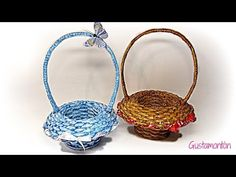 Tutorial of nice and simple basket from newspaper or paper. To make this basket you need 40 tube paper from one color and 10 from the other color or u can ma. Newspaper Basket, Newspaper Crafts, Quilled Roses, Rolled Paper Art, Recycled Magazines, Basket Crafts, Paper Weaving, How To Make Paper, Flower Making