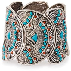 Lydell Nyc Silvertone Faux Turquoise & Carnelian Stretch Cuff Bracelet ($25) ❤ liked on Polyvore featuring jewelry, bracelets, multi, turquoise cuff bracelet, cuff bracelet, cuff bangle, turquoise bangle and cabochon jewelry