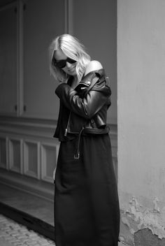 Leather jacket and maxi dress Cecilie Krog Bykrog Black and white