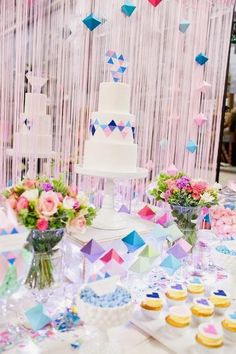 Perfectly Sweet's Pastel Geometric Wedding Table At A Darling Affair | Little Big Company