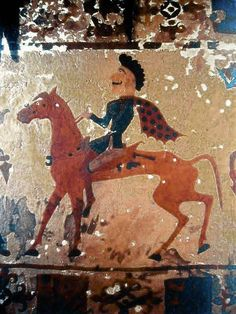 A Pazyryk horseman in a felt painting from a burial around 300 BC. The Pazyryks appear to be closely related to the Scythians.