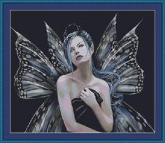 Butterfly Fairy Free Cross Stitch Pattern. Calls for White Aida but I think this would look great on Black Aida.