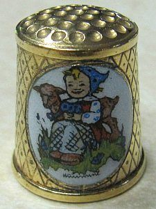 THE GOAT GIRL-HUMMEL-SCHOOL CHILDREN-COLLECTORS THIMBLE-TCC