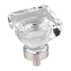 "Jeffrey Alexander [G140L-SN] Glass Cabinet Knob - Harlow Series - Large Square - Clear - Satin Nickel Stem - 1 3/8"" Sq."