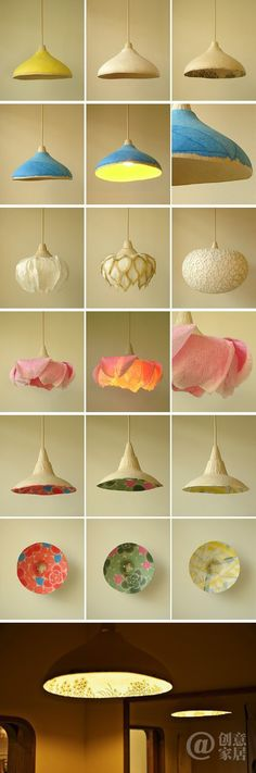 Various types of lights in different shapes. Some of them look like they could be done in paper mache. Diy And Crafts, Arts And Crafts, Paper Crafts, Diy Luminaire, Paper Light, Paperclay, Paper Art, Decoration, Projects To Try