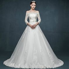 Ball Gown Wedding Dress - White Court Train Off-the-shoulder Tulle – USD $ 169.99