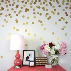 This trendy Polka Dot stencil kit makes it easy to make a stylish accent wall, or a random pattern around the whole room! Easy inexpensive DIY decor project by Cutting Edge Stencils Bedroom Wallpaper Accent Wall, Bathroom Wallpaper, Wall Wallpaper, Accent Walls, Wallpaper Quotes, Diy Wall, Wall Decor, Mural Wall, Wall Art