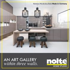 The spacious Nova lack kitchen in a high gloss Magma front. Whether you choose to read, or dine, or entertain your friends, the admiration never stops. #Kitchen #ModularKitchens #Nolte Visit: http://www.homestudioindia.com/kitchens