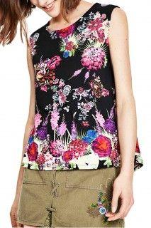 Desigual černé tílko Marzo s barevným potiskem - 1499 Kč Tommy Hilfiger, Floral Tops, Calvin Klein, Peplum, Ss 17, Boutique, Shopping, Women, Fashion