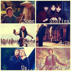 Some Stories Stay With Us Forever~ The Hobbit~ Harry Potter~ Pirates of the Caribbean~ Chronicles of Narnia~ The Hunger Games~ Percy Jackson Saga, Hobbit, I Love Books, Good Books, Ella Enchanted, Fandom Quotes, Harry Potter, Fandom Crossover, Chronicles Of Narnia