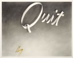 a faithful attempt: Ruscha-Style Ribbon Word Drawings