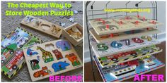 How to store wooden puzzles is the best and cheapest way to store wooden puzzles so they don't make a huge mess. Puzzle Organization, Puzzle Storage, Kids Storage, Toy Storage, Household Organization, Puzzles For Toddlers, Toddler Activities, Wooden Puzzles, Kids Decor