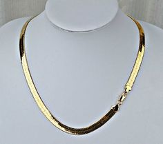 NEW PVD BONDED 18k GOLD Men's & Woman's 6½mm HERRINGBONE CHAIN Necklace - 3 SIZES