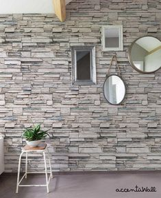 Faux Stone Peel & Stick Fabric Wallpaper by AccentuWall on Etsy Stone Wallpaper, Wallpaper Panels, Wallpaper Samples, Fabric Wallpaper, Faux Stone Walls, Stone Accent Walls, Faux Brick Wall Panels, Brick Face, Cleaning Walls