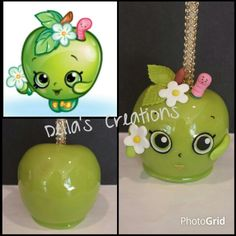 """Shopkins themed candy apple (""""Apple Blossom"""")"""