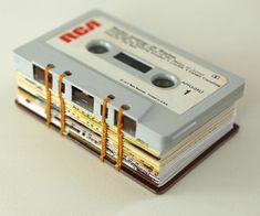 coptic stitch mini journal sewn using cassette tapes - #Bookbinding