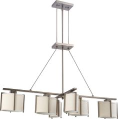 Portia 6 Light Island Pendant with Khaki Fabric Shades - (6) 13w GU24 Lamps Included by Nuvo Lighting - 60-4461