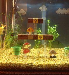 Retrofied Super Mario Lego Aquarium Decorations ------ I want this!!!! AND I LOVE THIS !!!!