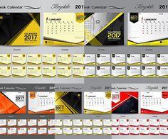 Gold desk 2017 Calendar templates eps